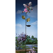 Butterfly & Crackle Glass Solar Ball Garden Stake