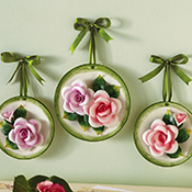 Set of 3 Porcelain Hanging Rose Wall Plates