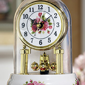 Rose Floral Dome Table Clock