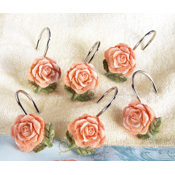 Vintage Floral Shower Curtain Hooks