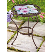 Interchangeable Glass Tile Outdoor Accent Table