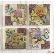 Butterfly Floral Glimmer Wall Plaques - 4pc Set