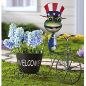Garden Frog with Hats Bicycle Planter