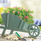 Decorative Garden Wooden Wheelbarrow Plant Holder