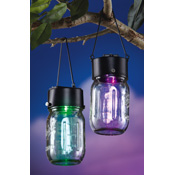 Set of 2 Outdoor Solar Hanging Jar Tops