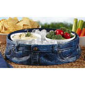 Blue Jean Look Serving Tray Platter
