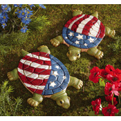 Set of 2 Patriotic  Liberty Turtle Garden Stones
