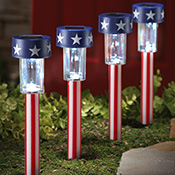 "Patriotic Solar Stake Path Markers 12.5""H - Set of 4"
