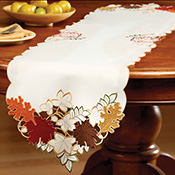Maple Leaf Embroidered Fall Table Linens - 96471