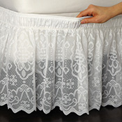 Lace Trimmed Bed Wrap Ruffle Bed Skirt - 96639
