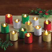 LED Glitter Holiday Flameless Votives - Set of 12 - 96768