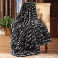Striped Faux Mink Throw Blanket - 96967