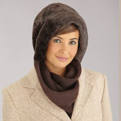 Faux Fur Winter Hat with Attached Scarf