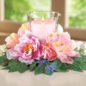 Peony Floral Candle Holder Centerpiece - 97299