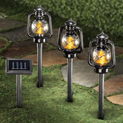 Railroad Lantern Solar Path Lights - Set of 3