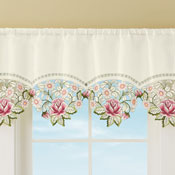 Embroidered Cutwork Rose Valance
