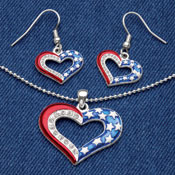 Patriotic at Heart Necklace and Earrings Jewelry Set - 97432