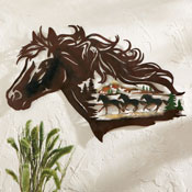 Metal Western Horse Shadow Wall Art