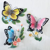 3D Sculpted Butterflies Wall Art - Set of 3