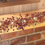 LED Primitive Country Berry & Star Garland - 97503