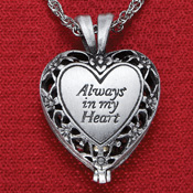 Heart Locket Necklace with Brass Urn - 97661