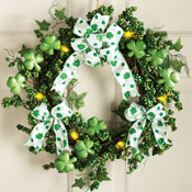 Lighted Shamrock Floral Wreath St. Patrick's Day Decoration - 97739