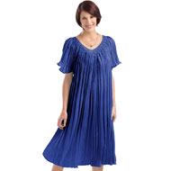 Macrame Neckline Flutter Sleeve Crinkle Dress - 97801