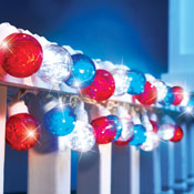 Patriotic Tinsel Globe String Lights - 98023