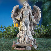 Solar Guardian Angel & Children Garden Statue - 98112