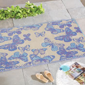 Reversible Butterfly Patio Mat Outdoor Rug - 98269