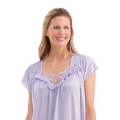 Flutter Sleeve Tricot Nightgown with Lace