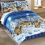 Midnight Wolves Bed Comforter Set with Bedskirt - 98384