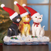 Musical Christmas Cat Trio Tabletop Decor - 98527