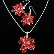 Christmas Poinsettia Necklace and Earring Set - 98830