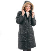 Long Quilted Coat with Removable Faux Fur Hood