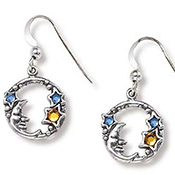 Sterling Silver Moon & Stars Celestial Earrings - A0135
