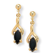 Black Onyx 14k Gold-plated Drop Earrings - A0141