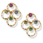 Multi-color Crystal Pierced Earrings Jewelry