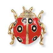 Crystal Red Enamel Ladybug Jewelry Pin