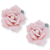 Pink Ceramic Rose Pierced Earrings