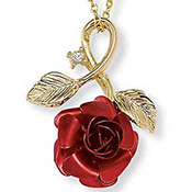 Red Rose Goldtone Pendant