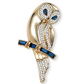 Goldtone and Crystal Owl Pin - A0464