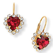 Red Heart Shaped Crystal Earrings