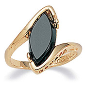 Black Onyx 14k Gold-Plated Ring - A1355