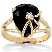 Onyx Heart 14k Gold-plated Ring - A1356
