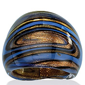 Blue, Black and Bronze-Colored Glass Dome Ring