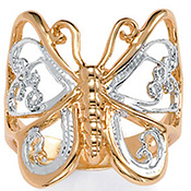 Tutone Filagree Butterfly 14k Gold-Plated Ring Jewelry