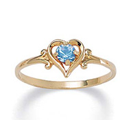 Simulated Birthstone 14k Gold-plated Heart-shaped Ring