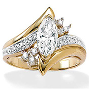 Marquise-Cut Cubic Zirconia Gold Ring