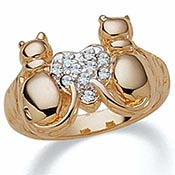 Cats with Crystal Heart Tutone 14K Gold-Plated Ring
